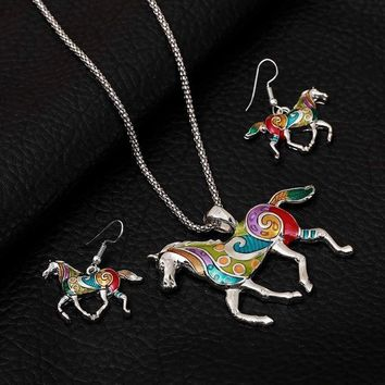 Enamel Jewelry Set Horse Colorful Pendant Vintage Dangle Earrings