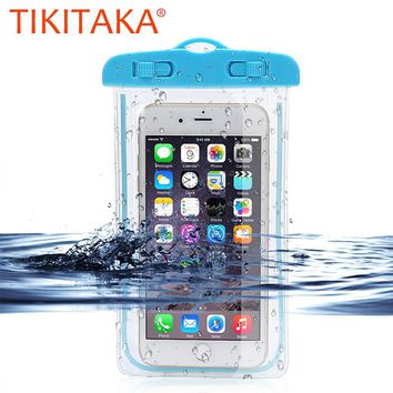 Universal Waterproof Bag For iPhone 5 6 7 8 Case Luminous Clear Underwater Dry Phone Pouch For Samsung Huawei Under 6 inch Phone