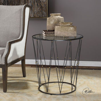 Uttermost Hewett Round Caged Accent Table On SALE