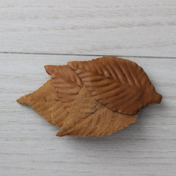 brown leafs hairclip, brick brown leafs hair clip, leather leaves, red barrettes, leather hair pin, casual hair clip,