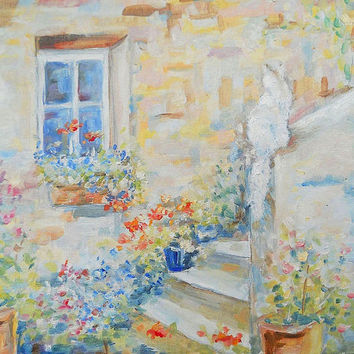 Original Cityscape Italian Province White Cat on Stairs Flowers in Old City Italy Contemporary Art Pastel Colors Realism Nature Wall Decor