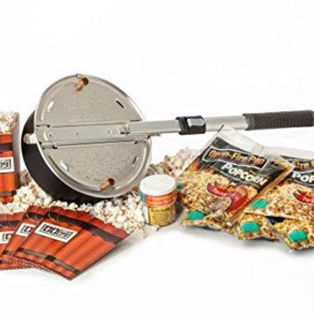 Whirley Pop Open Fire Popcorn Popper – Popcorn Set with Popping Kit and Seasoning Sampler – Great for Use Over Outdoor Fire Pits, Makes a Great Gift