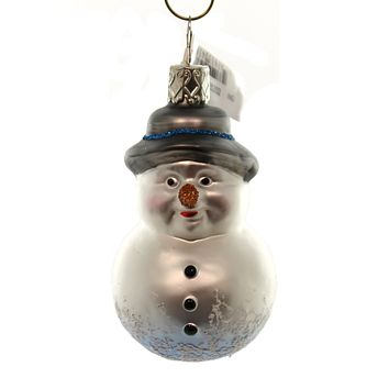 Inge Glas OLD FRIEND SNOWMAN Glass Ornament Christmas German 116315