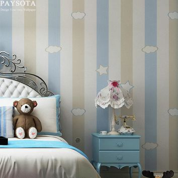 PAYSOTA Cartoon Stars Clouds Non-woven Wallpaper Children Room Warm Pink Blue Violet Green Stripe Bedroom Wall paper