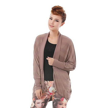 Coffee Colored Golden Stripe Long Sleeves Plus Size Cardigan