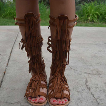 Fringe Gladiator Sandals - Rust