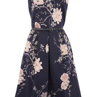Oasis Dresses | Multi Blue Autumn Flower Print Prom Dress | Womens Fashion Clothing | Oasis Stores UK