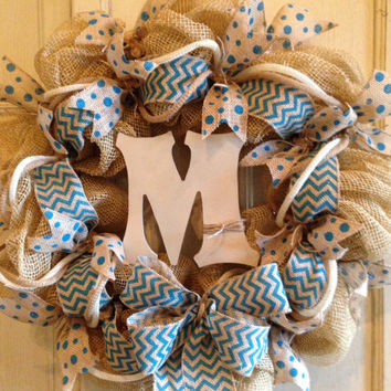 Monogram Chevron Wreath with Blue Burlap Ribbon DecoMesh Wreath, Monogram Wreath, Burlap Wreath, Door Wreath, Spring Wreath, Summer Wreath