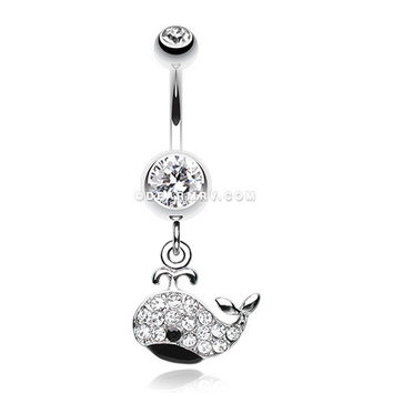 Adorable Whale Multi-Gem Belly Button Ring (Clear/Black)