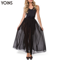 New 2016 Women Fashion Black Stretch Waistband Tulle Maxi Skirt Casual High Waist Skirts