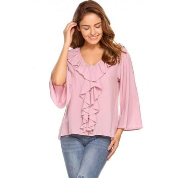 Pink Solid Ruffles Front V-Neck Flare Sleeve Blouse