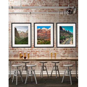 Zion National Park, Set of Three Wall Art Prints - Many Sizes