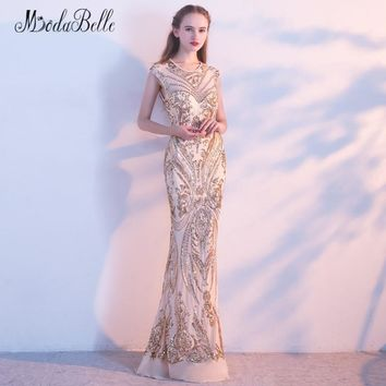 modabelle Gold Sequin Prom Dresses Floor Length 2018 Sexy Open Back Mermaid Long Evening Gown Maxi Beaded Dress Party