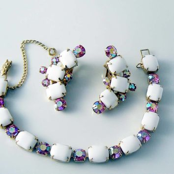 Kramer White Milk Glass Pink Ab Rhinestone Bracelet Earring Set
