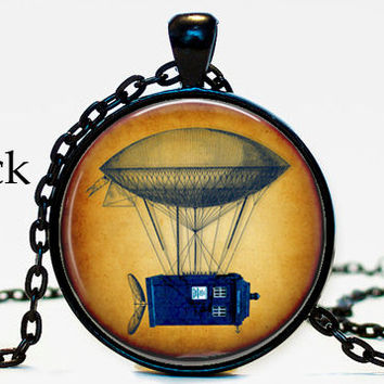 Doctor Who Blue Tardis Hot Air Balloon Necklace pendant,Geekery gift,movie gift,Tardis Charm,Your choice of finish, Doctor Who Charm Pendant