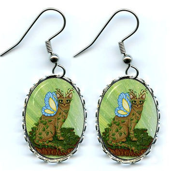 Earth Fairy Cat Earrings Elemental Butterfly Fairy Cat Fantasy Cat Art Cameo Earrings 25x18mm Gift for Cat Lovers Jewelry