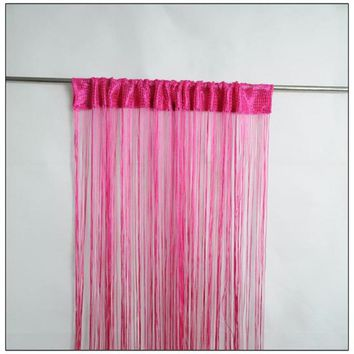 hot sale 1m by 2m beige grey coffee red purple white solid color door window screening rod pocket string curtain