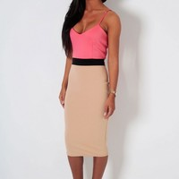 Pear Drop Pink & Nude Block Bodycon Midi Dress | Pink Boutique