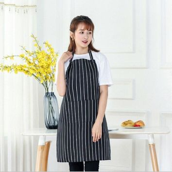 Sleeveless Chef Apron Pocket Sleeveless Adult Men & Women Apron Kitchen Cooking Tool Plaid Polyester Bib