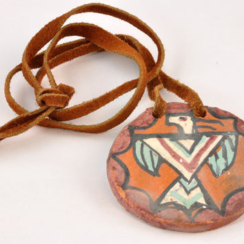 Vintage Native American Pendant - Pamunkey Reservation Pottery Pendant on Cord - Thunderbird Design Pottery Necklace on Suede Leather Cord