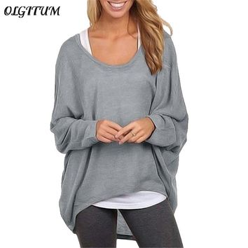 OLGITUM 2018 New Fall Women's Blouse Casual Ladies loose bat long-sleeved shirt ladies solid color comfortable blouse 9 colors