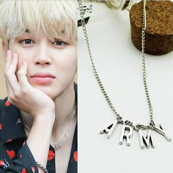 LMIKNI BTS Kpop ARMY Necklace Women Men Jewelry Collier Korea Fashion BTS Album Love Yourself Accessories 2017