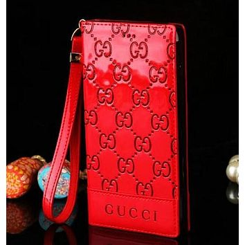 GUCCI Stylish Leather Covers iphone 7plus Cute Mobile Phone Shell  6splus Bright Protective Cover Red I