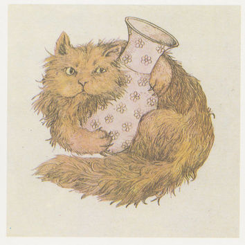 "R. Borodulin ""Cats in a Basket"", Illustrations by V. Slauk. Complete Set of 16 Prints, Postcards in original cover -- 1990"
