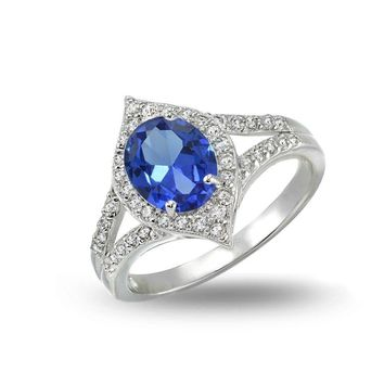 Simulated Blue Sapphire and Cubic Zirconia Oval Fashion Split Shank Ring