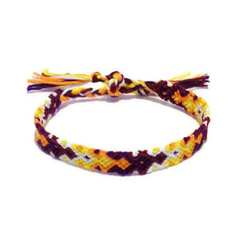 Fall Colored Arrowhead Pattern Embroidery Friendship Bracelet, Arrow Bracelet, Diamond Pattern Bracelet