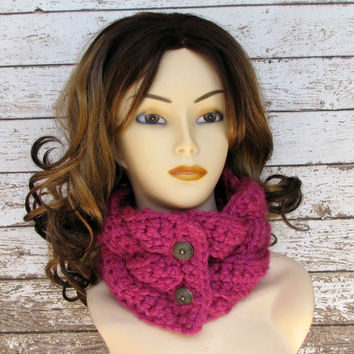Crocheted Braided Cowl, Magenta Scarf, Ladies Winter Neckwarmer