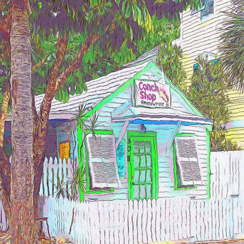 Colorful Tiny Key West Restaurant Glicee Print - Little Conch Shop - 8x10 16x20 Korpita
