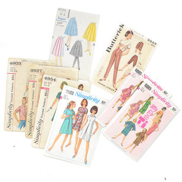 Vintage Dress Sewing Pattern • Vintage Pattern Lot • Simplicity + Butterick + Vogue • Pants + Shorts + Circle Skirt + Dress Pattern