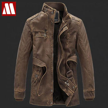 New Rushed Fashion Motorcycle Jacket Men PU Leather Jackets Water Wash Vintage Thick Warm Winter Military Mens Trench Coat