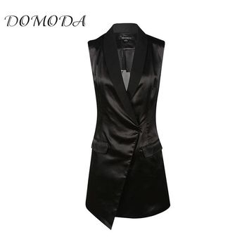 DOMODA 2017 Vogue Bodycon Women Plain Dress Asymmetrical Sleeveless V-Neck Split Shaping Dress Daily Casual Commute Dress