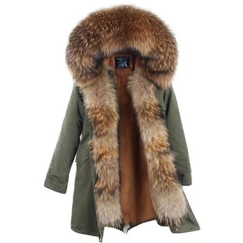 New Arrival Fur Parka 2017 Brand Long Women Winter Coat Real Raccoon Fur Jacket Luxury Large Detachable Collar Parka Femme