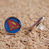 Superman Studs - nerd dc comic book character hero geekery earrings post FREE shipping to USA