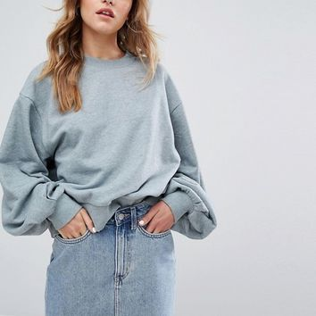 Weekday Sweatshirt with Balloon Sleeve at asos.com