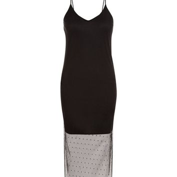 Black Spot Mesh Hem Slip Dress | New Look