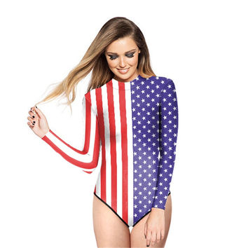 Surfing Bathing Suit American Flag Printed Women Swimwear Loog Sleeve Zippered One Piece Swimsuit