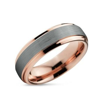 Double Groove Brushed Silver and Rose Gold Tungsten Ring