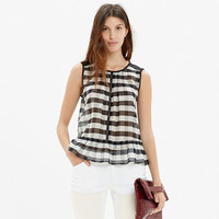 SHIRRED ORGANZA TOP IN GINGHAM