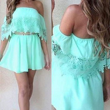 Light Green Lace Mini Dress
