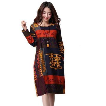 ESBONC. Plus size M-XXL Vintage print loose casual autumn dress 2017 new arrival women spring fashion dress cotton linen midi dress