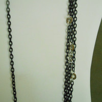 30 inch long Black chain necklace with circle details