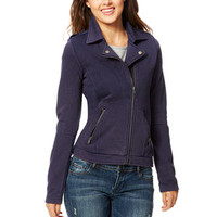 Fleece Collar Notch Moto Jacket