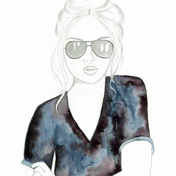 Shades of Grey - Print of original watercolor & pencil fashion illustration by Lexi Rajkowski, Home decor, Art Print