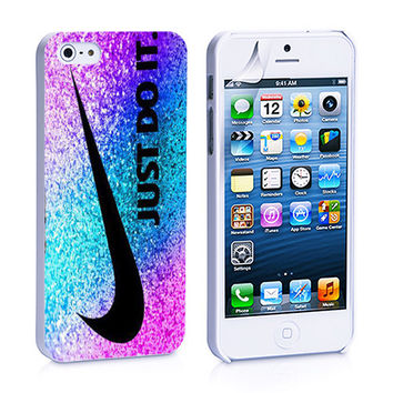Nike Just Do It Pink Blue Purple Glitter iPhone 4s iPhone 5 iPhone 5s iPhone 6 case, Galaxy S3 Galaxy S4 Galaxy S5 Note 3 Note 4 case, iPod 4 5 Case