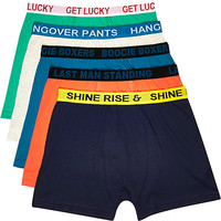 River Island MensGreen slogan boxer shorts pack