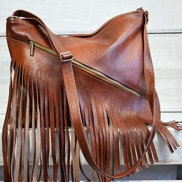 Fringe LEATHER Purse COGNAC BROWN Crossbody Leather Bag With Tassels Boho Bag Lined Hobo Bag Women's Handbag Leather Laptop Bag